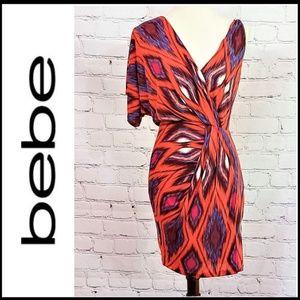 BEBE One Sleeve Mini Dress - Orange/Blue - XXS